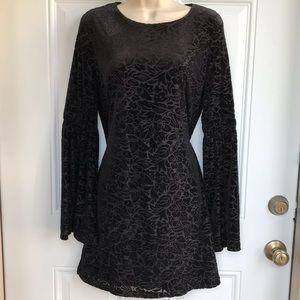 Adrienne Vittadini Black Bell Sleeve Dress NWT